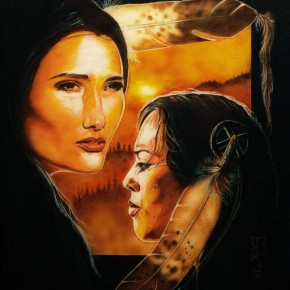 Two Native American women, one on the left facing forward, the one on her right turned to face her