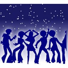 People dancing under the stars, purple silhouette