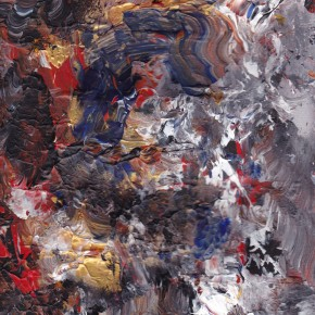 Beige, White, Red, Black and Blue colors in an abstract design.