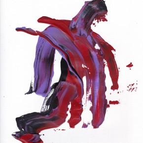 Blue, purple and red abstract work. Resembles a broad shouldered man jumping and leaning forward